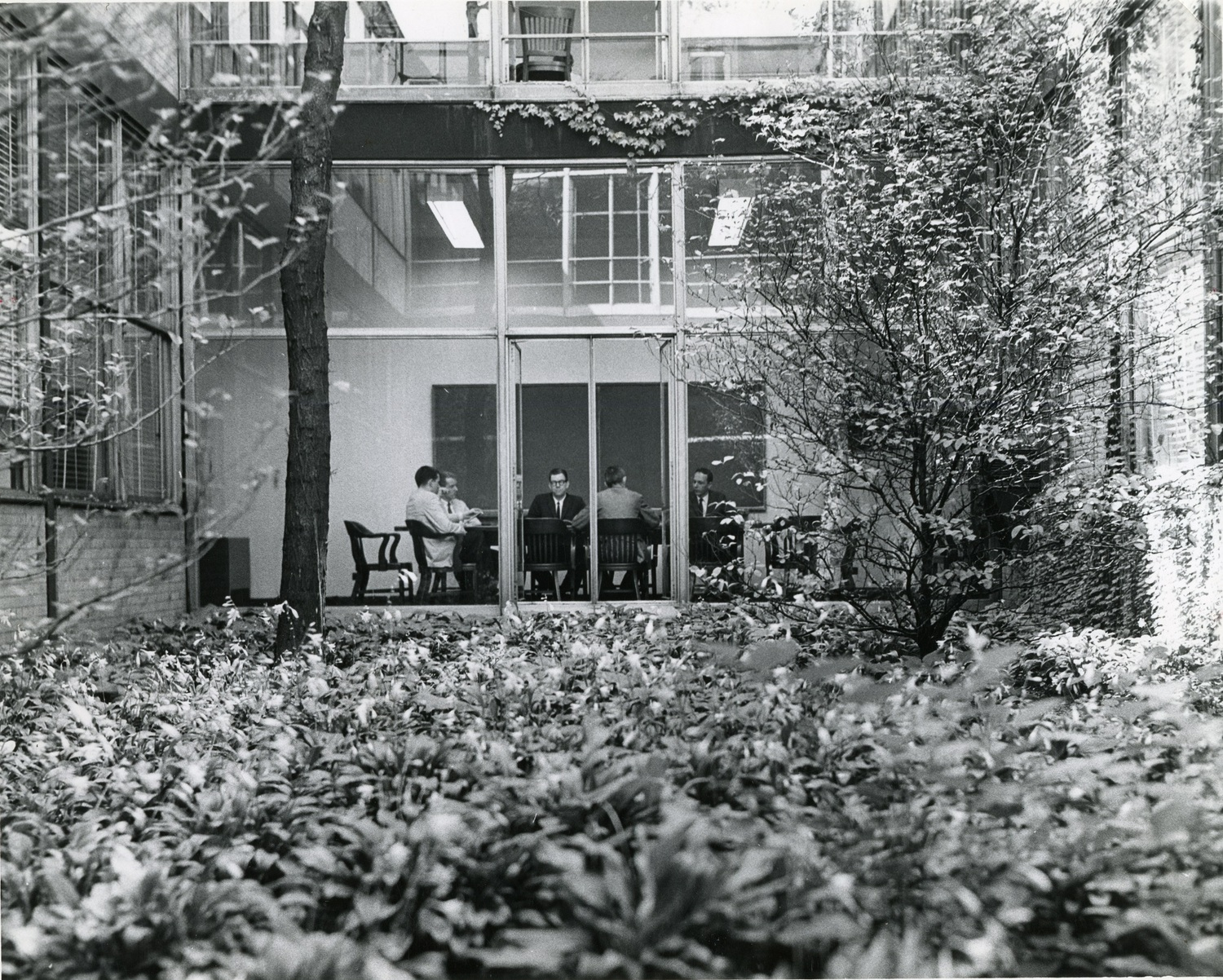 View of Perlstein Hall from interior courtyard