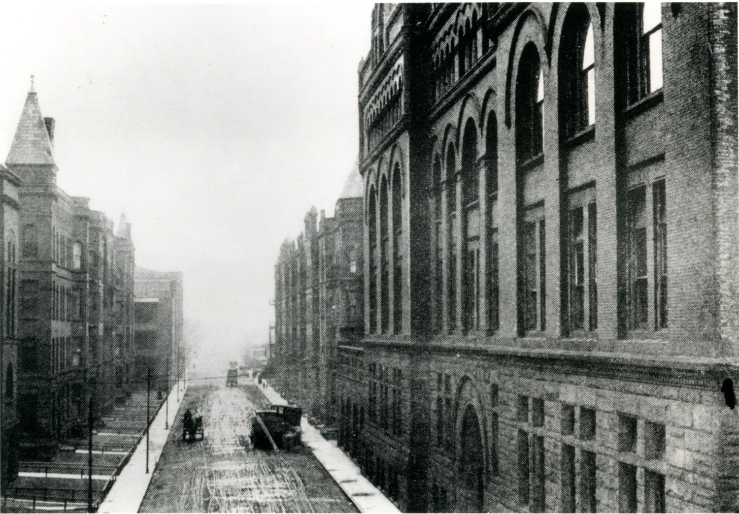 "Main Building and the ""Gorge"" (Federal Street and the buildings that lined it)"