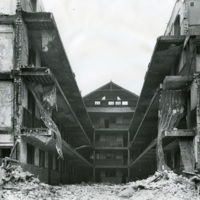 The Mecca Apartments during demolition