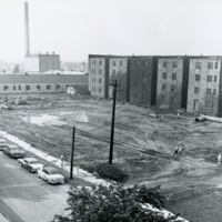 Rear of Chapin Hall (left) and the Physics Building (right), with the future site of Crerar Library in the foreground